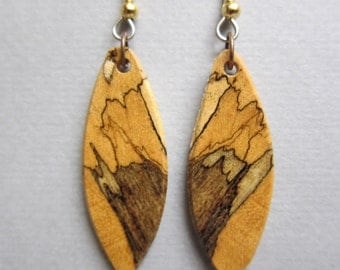 Spalted Tamarind Small Exotic Wood Earrings, Handcrafted by ExoticWoodJewelryAnd Hypoallergenic wires