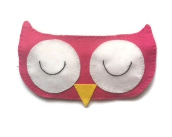 Owl eye mask, Owl sleep mask, Animal sleep mask, Bird eye mask, Kid's sleep mask, Bird sleep mask, Pink owl