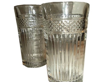 Set of 2 Libbey Glass Rock Sharp Pressed Glass Tumblers