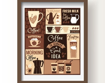 Coffee poster, Coffee print art,Coffee time print, coffee types,coffee poster, kitchen decor, kitchen wall art, brown kitchen coffee poster