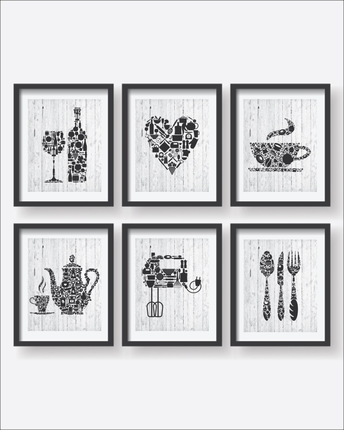 6 set kitchen collections decor kitchen poster set kitchen for Kitchen decor collections