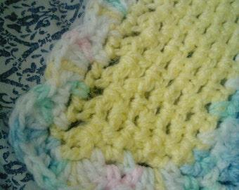 Multicolored crochet baby blanket