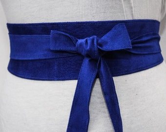 Royal Blue Suede Obi Belt | Waist Belt | Suede Tie Belt | Real Suede Leather Belt| Handmade Belt | Plus size belts