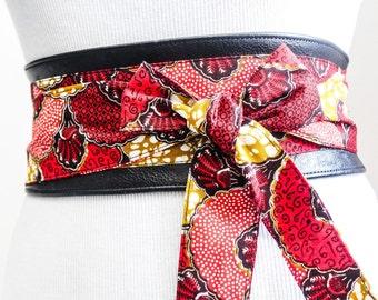 Black Leather African Print Obi Corset Belt  Ankara Wax Print Leather tie belt  Leather Belt  Handmade Belt  Plus size belts  African Print