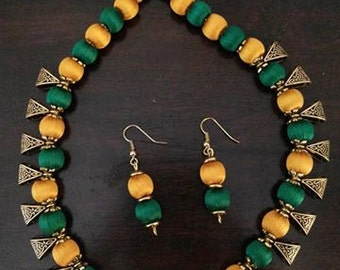 Yellow and Green Silk Thread Jewelry Set Necklace and Earrings Set Silk Thread with hanging Metal Bails Handmade Indian Jewellery Maroon
