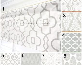French Grey Window Valance.Grey Kitchen Valance Curtains.Moroccan Quartrefoil Window Treatment Valance.Grey Gray Damask Valance