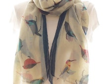 Cream Bird Scarf Shawl Beach Wrap, cream cowl Scarf Pareo,cream Oversized Scarf, Cotton Scarf, Gift For Her