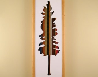 """Tree- 24"""" by 8"""" Recycled Wood Silhouette Wall Art"""