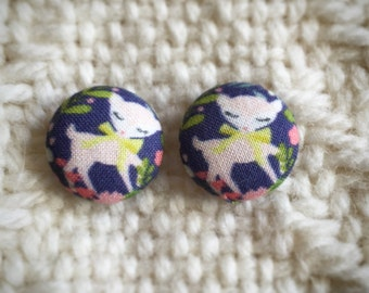 Purple and Pink Fawn Fabric Button Earrings - Ready to ship