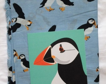 Women's puffin print scarf in 100% cotton with card