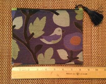 Funky Bird print & Linen, zipper bag.
