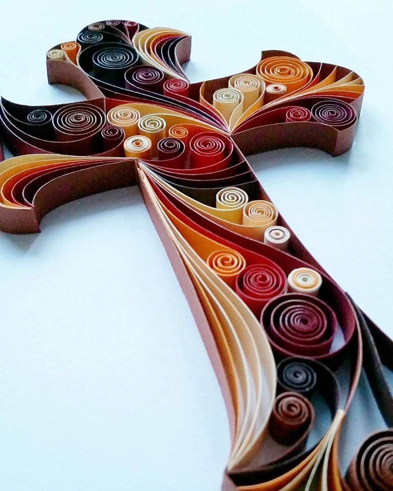 Quilled paper art cross handmade artwork Wall art paper designs