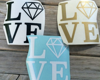 Love Diamond Vinyl Sticker, Vinyl Decal, Car Sticker, Laptop Sticker, Wedding Sticker
