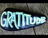Gratitude: hand-painted rock paperweight, garden decor, inspirational reminder, unique gift, thank-you gift