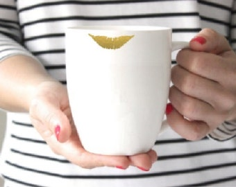 Gold lip Print Coffee Mug