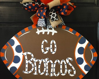 Denver Broncos Inspired Football Door Hanger, Door Decoration,  Fall Wreath, Wooden Football