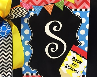 Pencil Initial, Vinyl Garden Flag, Back To School