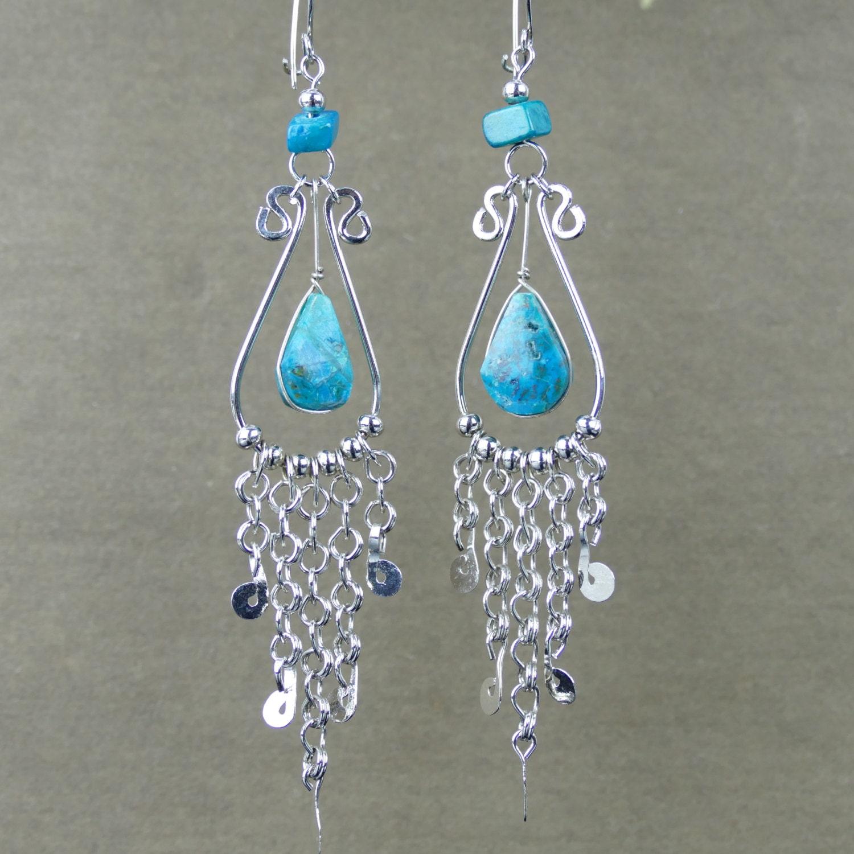 Green Chandelier Earrings // Bohemian Dangles // Chrysocolla