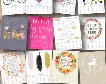 printable 2017 monthly wall calendar with inspirational art and quotes - 8x10 inches -  Mother's Day gift for mom, wife, sister, best friend