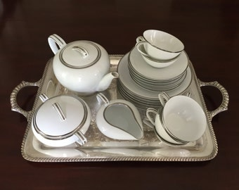 Noritake China 21 Piece Tea Set in the Silverdale Pattern, White with Platinum Trim, Service for 6