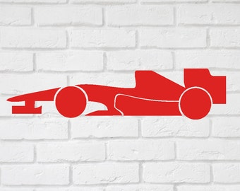 F1 Racing Car Wall Decal  sticker -  Children's wall decal, Boys bedroom  small to large  up to 19 inches.