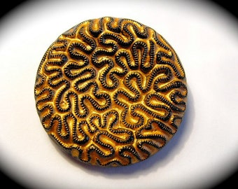 Vintage Button ~ Large Black Glass w All Over Squiggle Design w Gold Luster