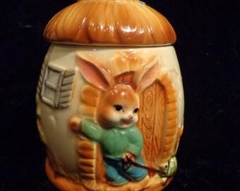 Bunny House Porcelain Lidded Canister, Bunny Porcelaiin Canister, Bunny Ceramic Jar