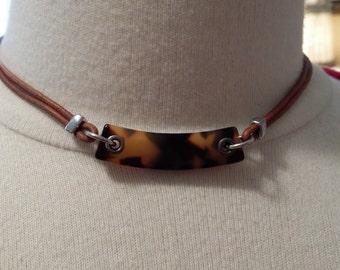 Vintage Ralph Lauren Tortoise Necklace, Choker