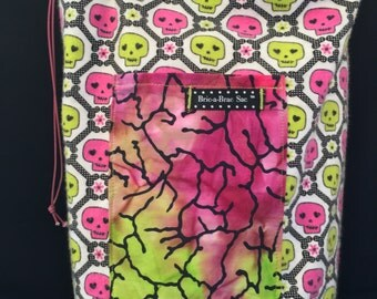 Pink & Green Skulls Girls Tote Bag