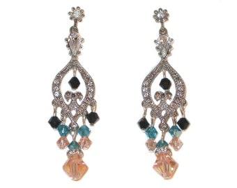 Indicolite TEAL BLACK PEACH Chandelier Earrings Silver Swarovski Elements