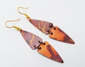 Flame Colored Copper Earrings - Copper triangles earrings