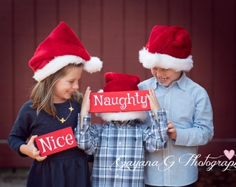 Naughty & Nice Sign, wooden sign, photography prop