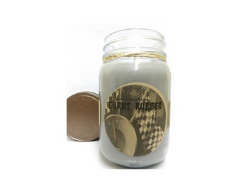Burnt Rubber 16oz Country Jar Handmade Soy Candle Aprox Burn time 144 hours