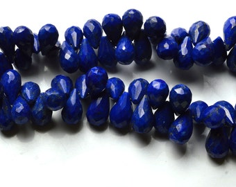 229 Carets 7.5 Inch Full Strand, Lapis Lazuli Faceted Drop shape Beads  Briolettes,Size 9 TO 13 MM
