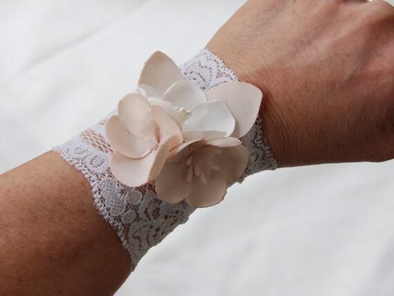 Ivory stretch lace and floral bracelet;wedding lace bracelet;ivory lace wristcuff