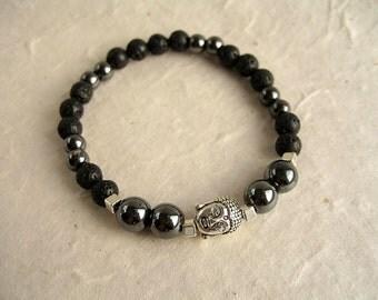 Buddha's bracelet haematites and volcanic stone