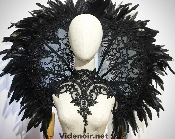 Elizabethan Collar  Lace Wired ruff mesh handmade with feather lace standing alone