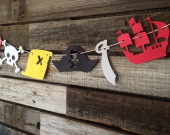 Pirate Party Garland - Ship, Skull, Pirate Hat, Map, Sword, Under the Sea, Baby Shower, Beach Party, Photo Prop