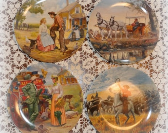 "Set of 4 Vintage ""Oklahoma"" Edwin Knowles Collector Plates."