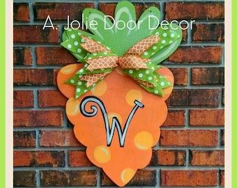 2' Handcrafted Wooden Glittery Personalized Easter Carrot Door Hanger