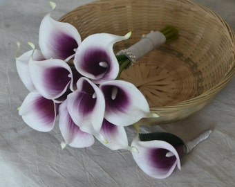 Silk Flowers Wedding Bouquet Purple Picasso Calla Lilies Natural Touch Silk Bridesmaid Bouquet Boutonnieres-Choose your colors