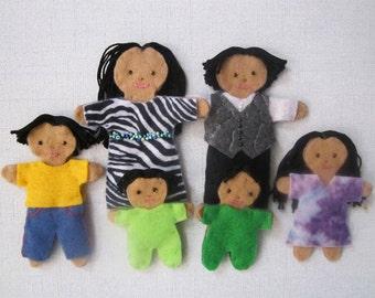 small doll family -- felt family -- children's toys