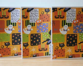 12 Halloween Note Cards.  Halloween Party Invitations. Halloween Card Set. October Cards. Greeting Card Set. Pumpkin, Ghost, Black Cat
