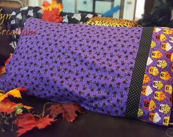 Purple Black Cat and Jack-o-lantern Cupcake Halloween Pillowcase