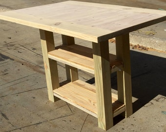 DIY Small Kitchen Island with Storage and Matching Bench