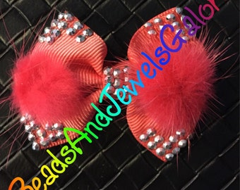 Coral beautiful hair clip bow sparkly accents and faux fur