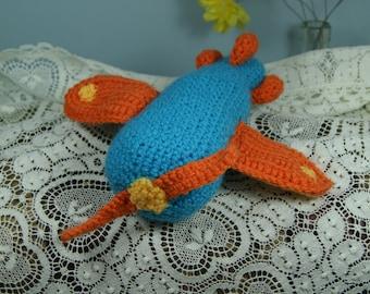 Baby Rattle. Airplane. Handmade crochet. Gift.