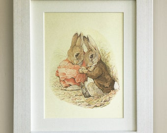 "FRAMED Beatrix Potter Print, New Baby/Birth, Nursery Picture Gift, 3 Frame Options, Lovely Birth or Christening Gift, 10""x8"", Peter Rabbit"