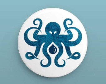 Inktopus Buttons - Nautical Octopus Pins