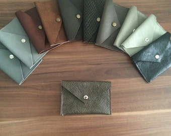 Grey taupe real leather coin pouch / purse / card holder